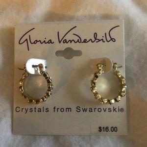 Gloria Vanderbilt small hoop with crystals